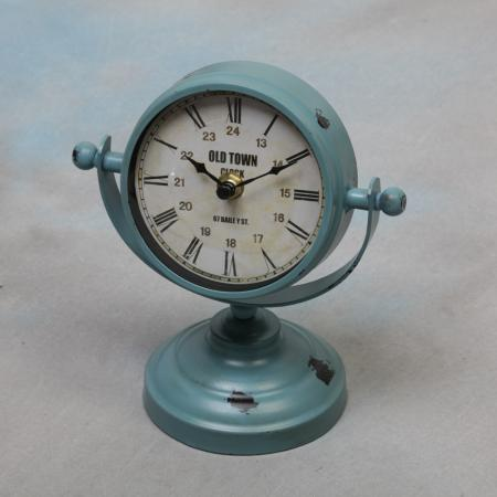 Vintage Blue Metal Ship Style Ball Clock