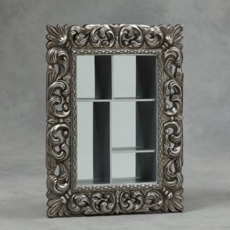 Silver Framed Wall Shelf Mirror