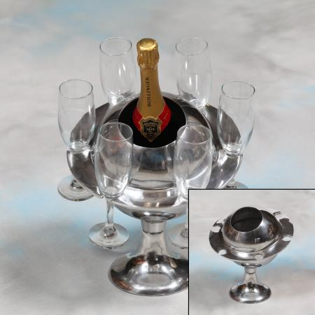 Polished Aluminium Saturn Ice Bucket/ Champagne Cooler