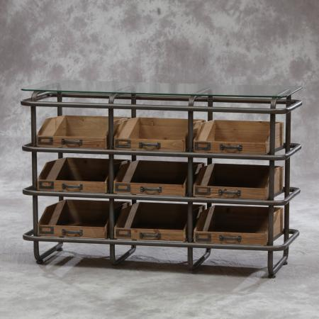 Industrial Metal and Wood Shelf Unit