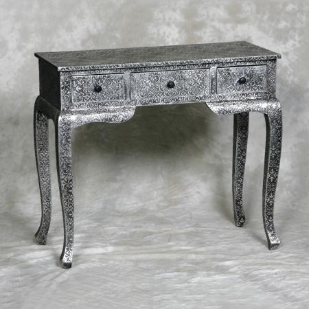 Black Metal Embossed Dressing Table