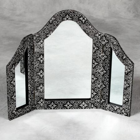 Black Metal Embossed 3 Fold Dressing Table Mirror
