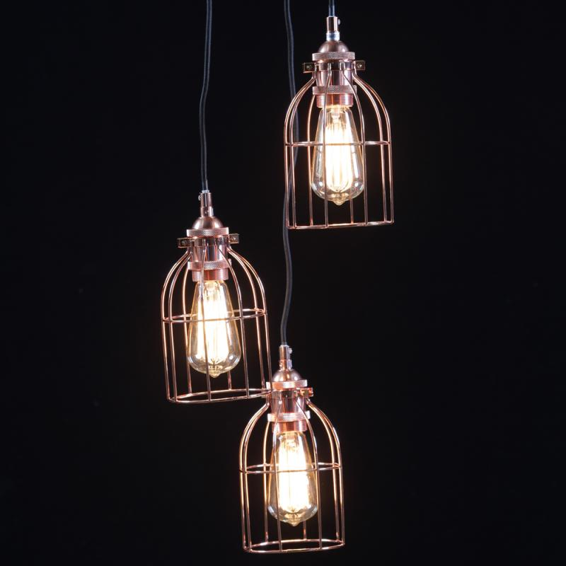 Triple Cage Copper Ceiling Light