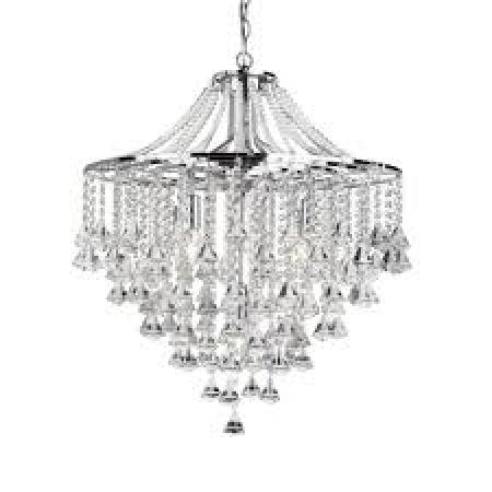 Dorchester Chrome 5 Light Chandelier With Clear Crystal Buttons