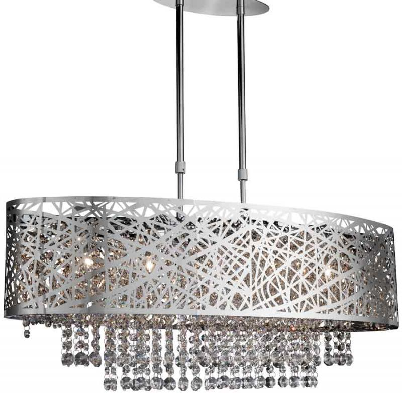 Oval Chrome Light Fitting with Crystal Drops