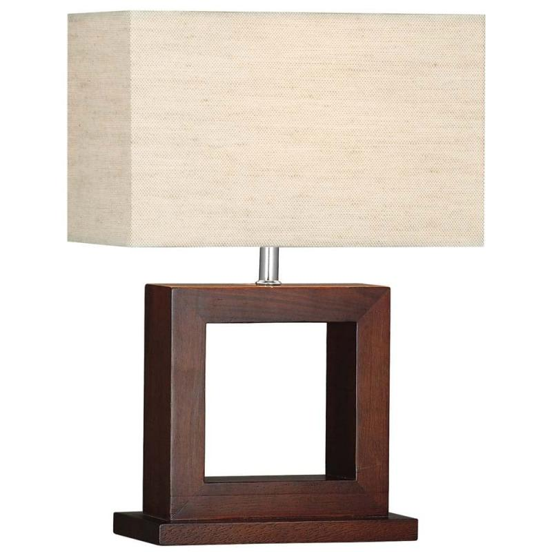 Cosmopolitan Dark Wood Table Lamp With Matching Oblong Shade