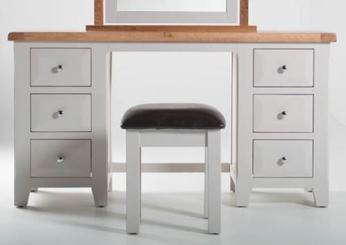 Grey Oak Dressing Table and Stool Set