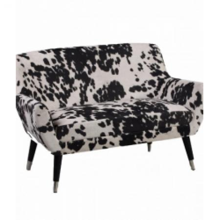 Black Faux Cow Hide 2 Seater Chair