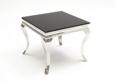 Black Glass and Steel End Table