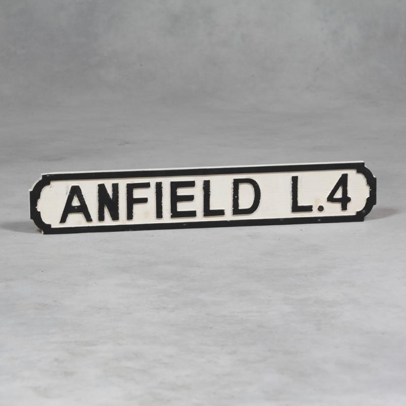 Vintage Style Wooden Anfield Road Sign