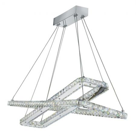 Chrome Led 2 Rectangle Frame Ceiling Light With Crystal Trim