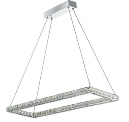 Led Chrome Rectangle Ceiling Light With Crystal Trim