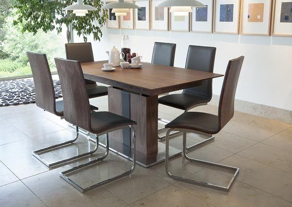 Walnut Finish Extending Dining Table & 6 Chairs
