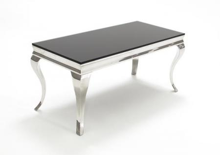 Black Glass and Steel Coffee Table