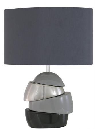 Grey, Silver & Ash Ceramic Masonry Table Lamp