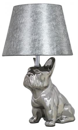 French Bulldog with Silver Cobweb Shade