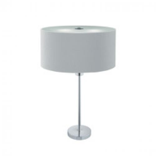 Drum Pleat Chrome 2 Light Table Lamp With Silver Shade