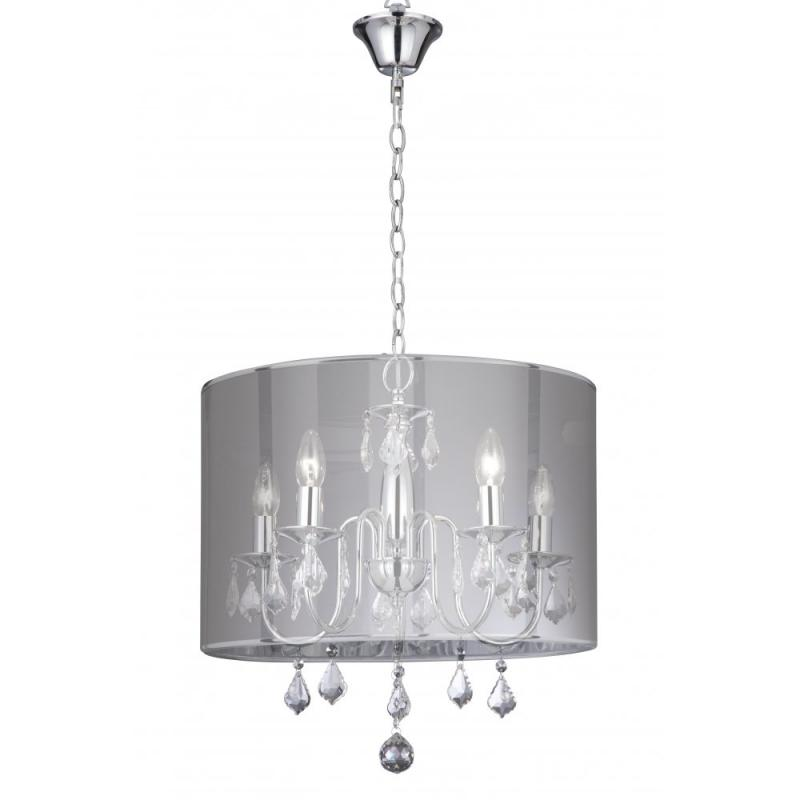 Venetian Chrome 5 Light Fitting With Silver Shade & Crystal Drops