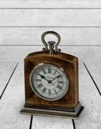 Wood and Nickel Mantle Clock