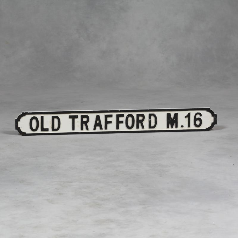 Old Trafford Wooden Road Sign