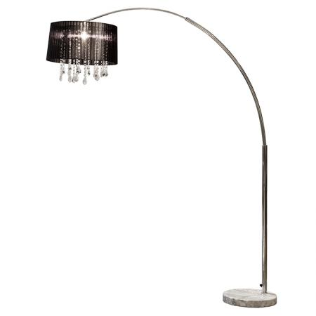 Black Arc Lamp with Ribbon Shade
