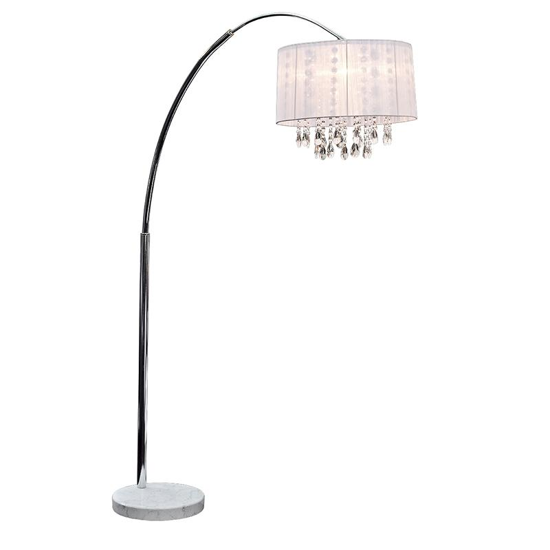 White Arc Floor Lamp with Ribbon Shade