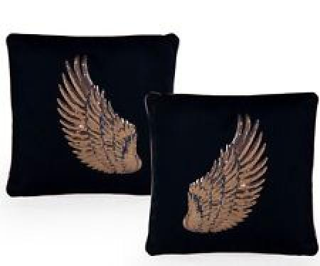 Pair of Black with Rose Gold Detailing Wing Cushions