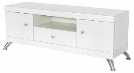 White Glass Low TV Cabinet