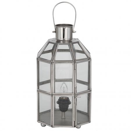 Metal and Glass Table Lamp Lantern