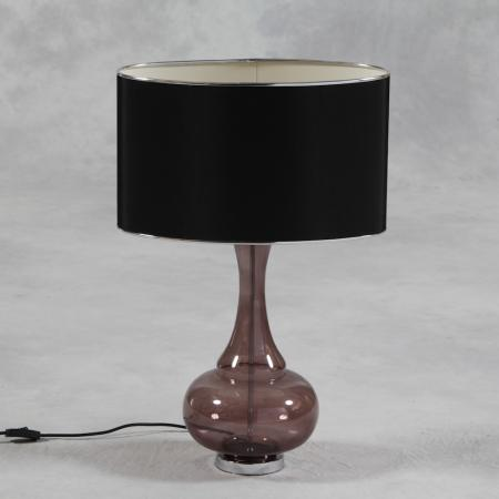 Black Glass Bulbous Lamp With Black Silk Thread Shade
