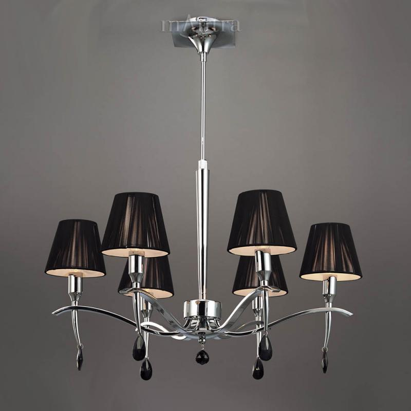 Siena 6 Light Pendant with Black Shades