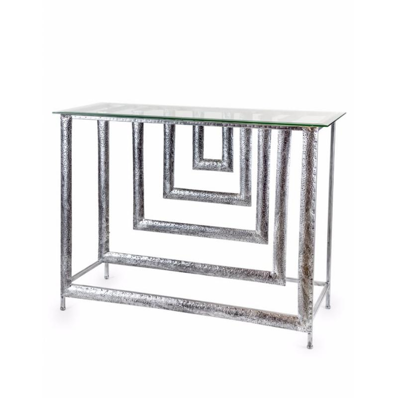SILVER METAL DIMENSIONS CONSOLE TABLE WITH GLASS TOP