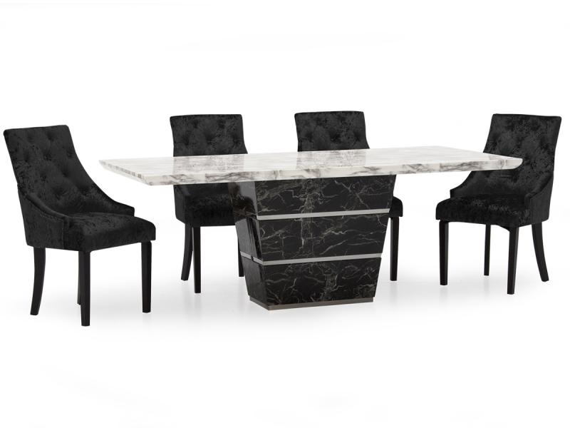 Black and White Marble Dining Set with 6 Chairs
