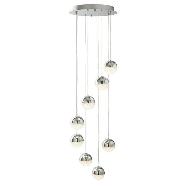 8 LIGHT LED GLOBE MULIT-DROP, CRUSHED ICE EFFECT SHADE