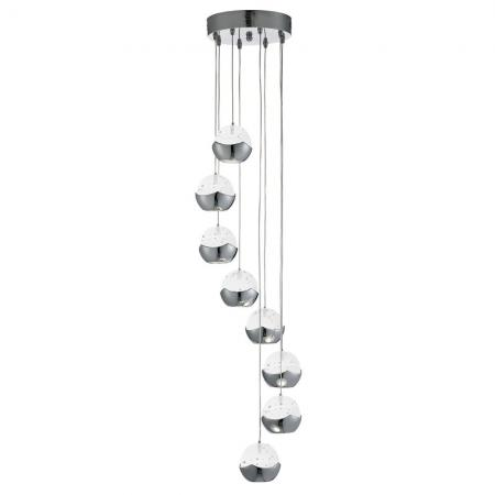 ICEBALL LED CHROME 8 LIGHT MULTI-DROP PENDANT WITH GLASS SHADES