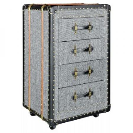 Grey Fabric 4 Drawer Unit