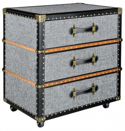 Grey Fabric 3 Drawer Unit