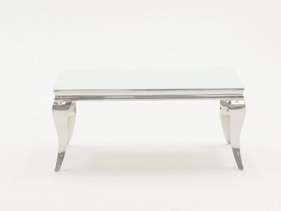 White Glass and Steel Coffee Table 1100