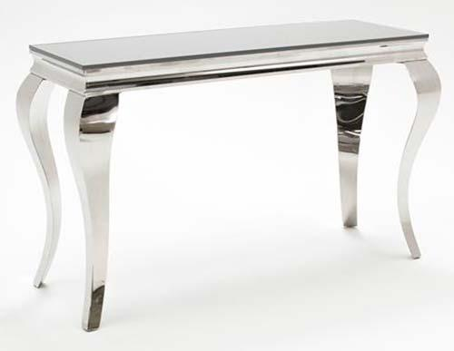 White Glass and Steel Console Table