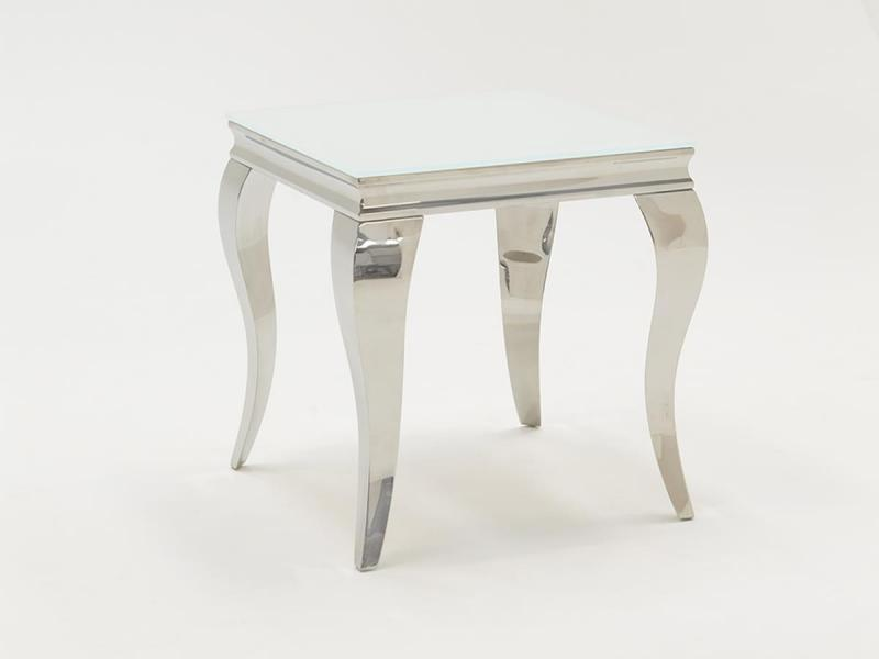 White Glass and Steel End Table