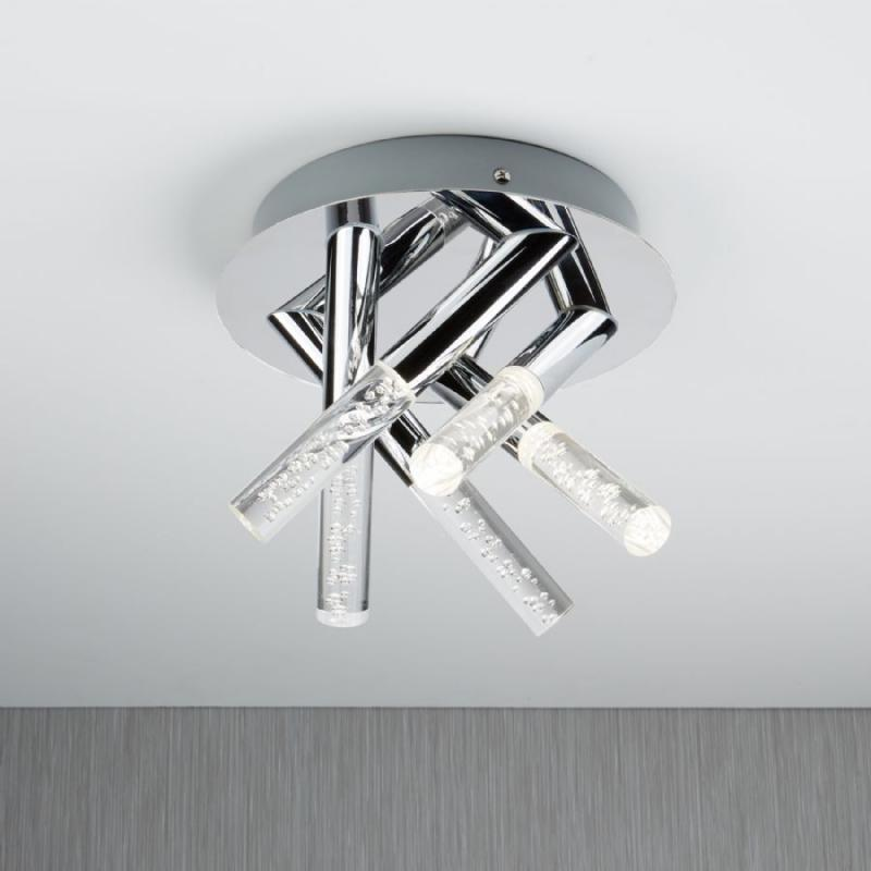 LIGHT BATHROOM LIGHT BUBBLED ACRYLIC CHROME RODS Lavish Home - Chrome 5 light bathroom fixture