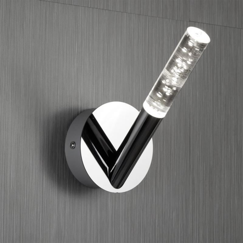 1 LIGHT BATHROOM WALL BRACKET, BUBBLED ACRYLIC & CHROME RODS