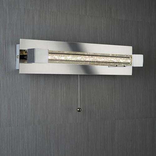CHROME LED IP44 WALL LIGHT WITH CLEAR CRYSTAL GLASS BAR