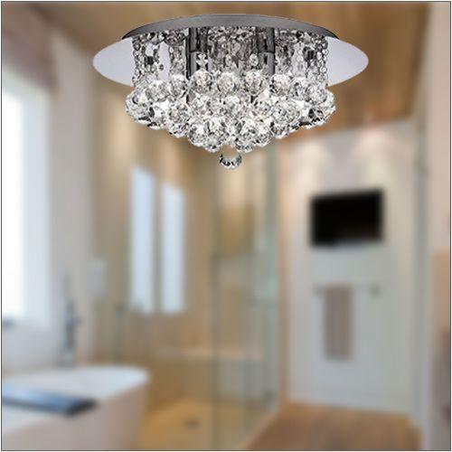 IP44 HANNA CHROME 4 LIGHT SEMI-FLUSH WITH CLEAR CRYSTAL BALLS