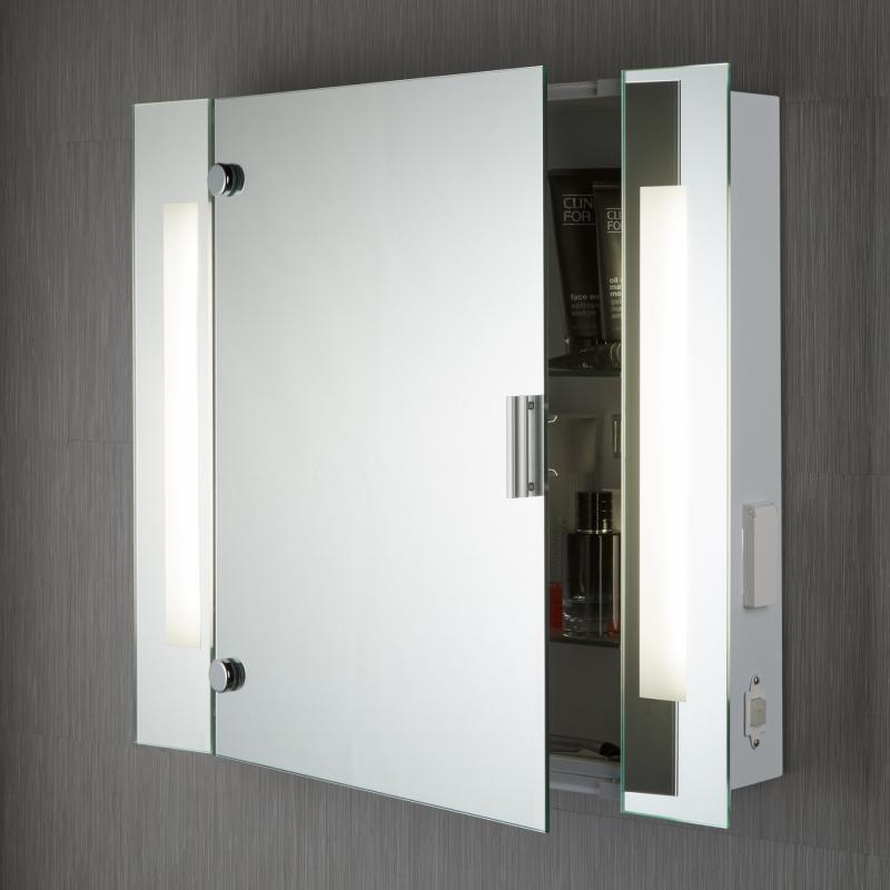 IP44 ILLUMINATED BATHROOM MIRROR CABINET WITH SHAVER SOCKET